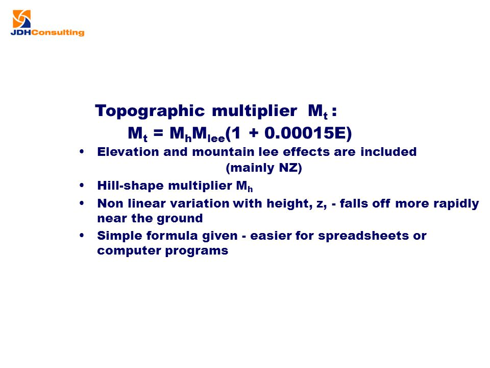 Topographic multiplier Mt :