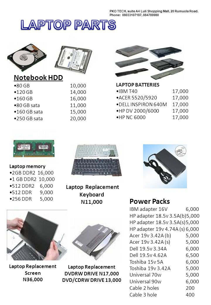 LAPTOP PARTS Notebook HDD Power Packs Laptop Replacement Keyboard