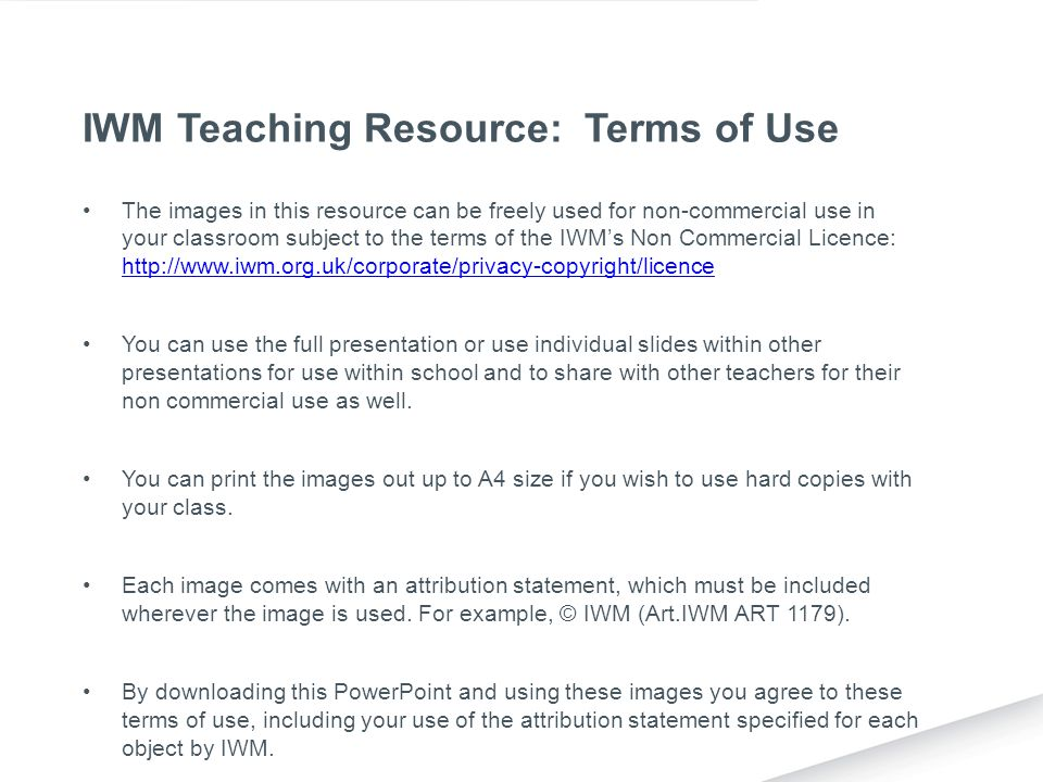 IWM Teaching Resource: Terms of Use