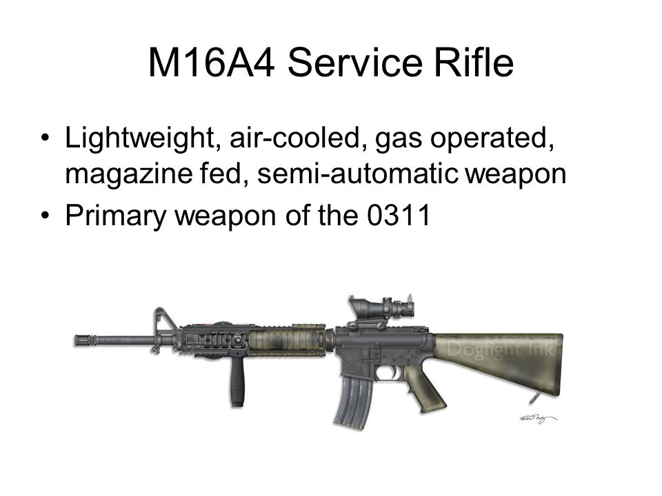 M16A4 Service Rifle Lightweight, air-cooled, gas operated, magazine fed, semi-automatic weapon.