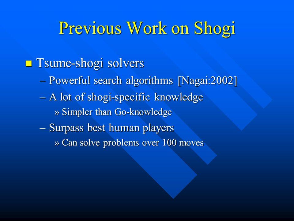 Previous Work on Shogi Tsume-shogi solvers