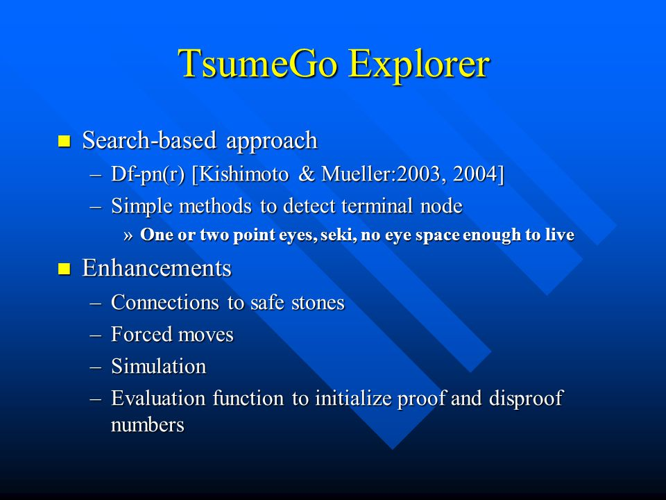 TsumeGo Explorer Search-based approach Enhancements