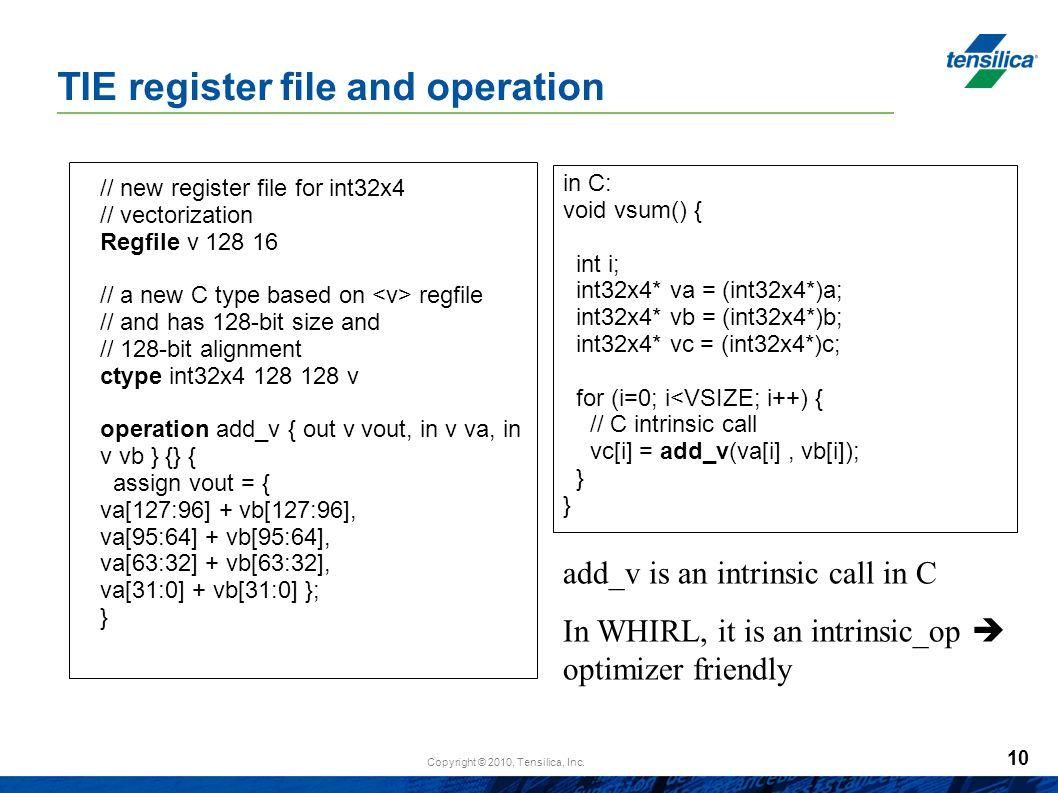 TIE register file and operation