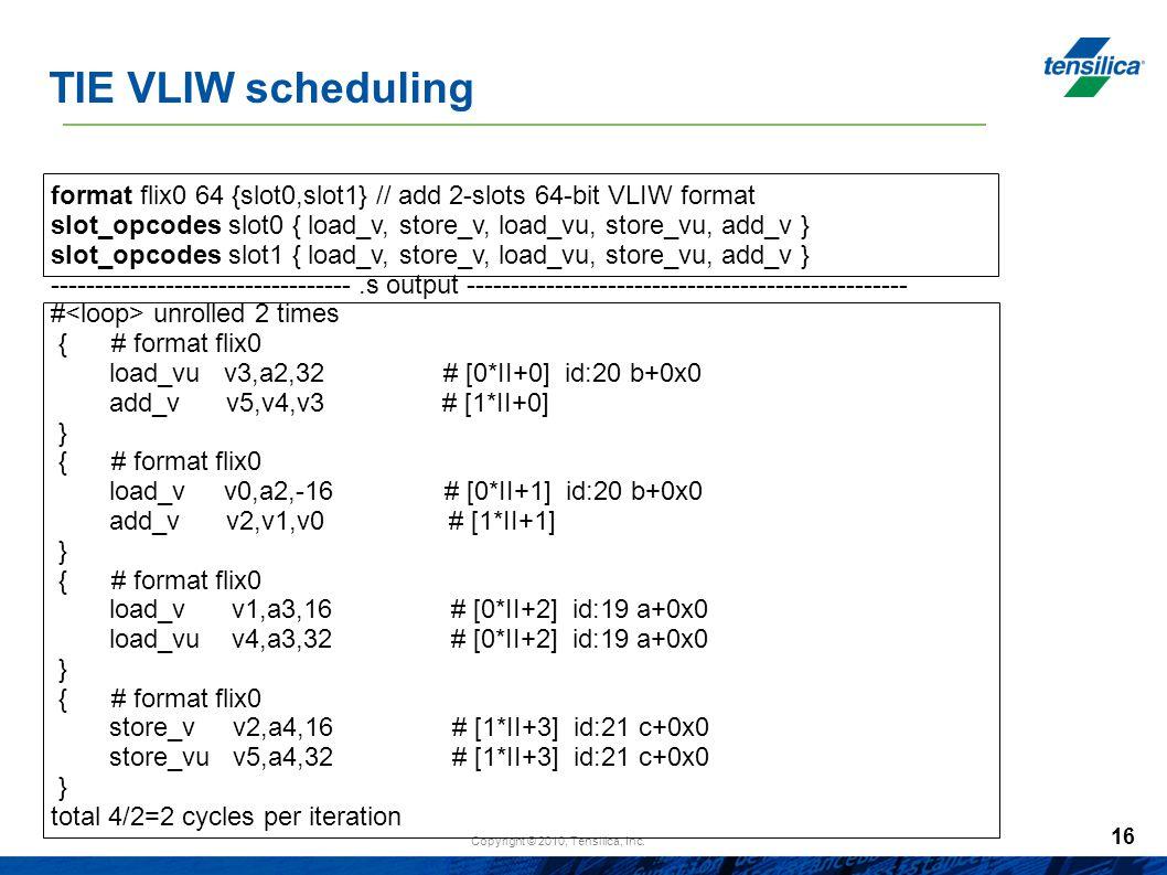 TIE VLIW scheduling format flix0 64 {slot0,slot1} // add 2-slots 64-bit VLIW format.