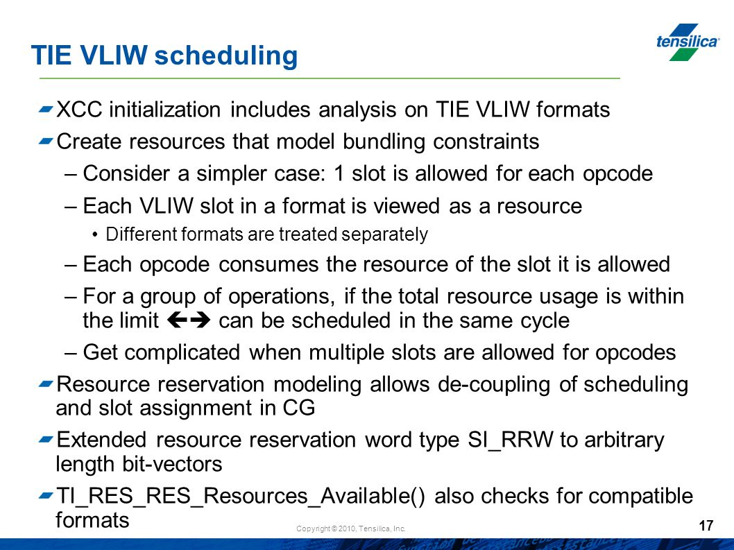 TIE VLIW scheduling XCC initialization includes analysis on TIE VLIW formats. Create resources that model bundling constraints.