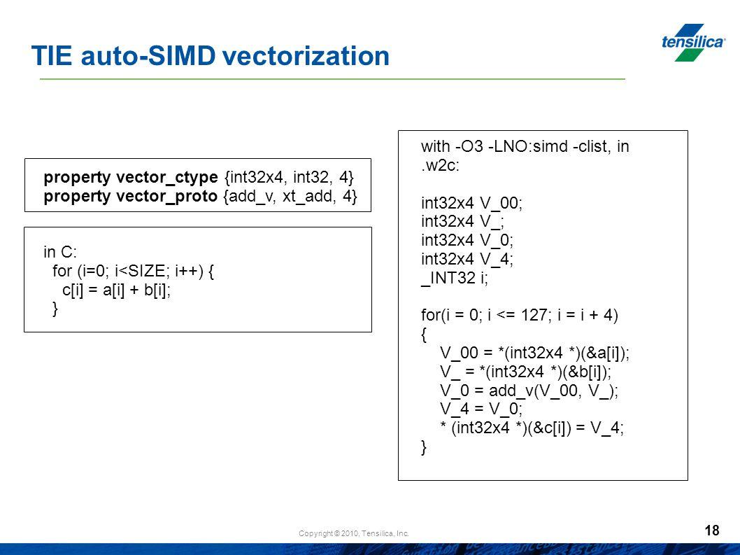 TIE auto-SIMD vectorization