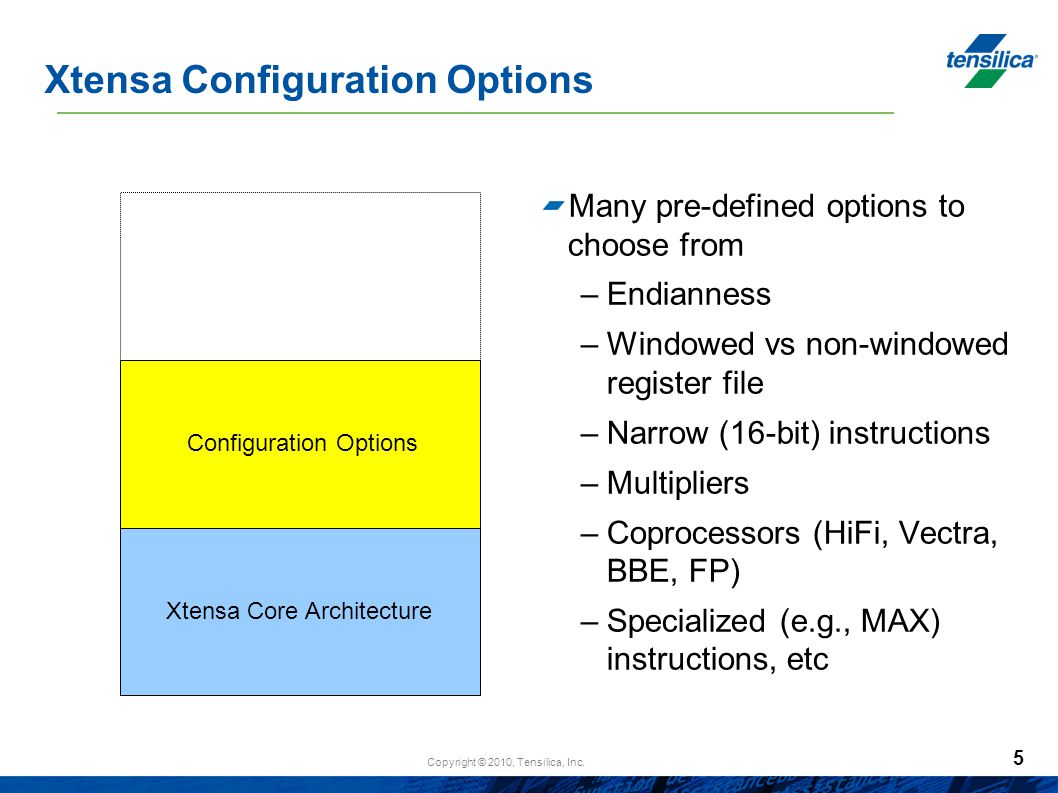 Xtensa Configuration Options