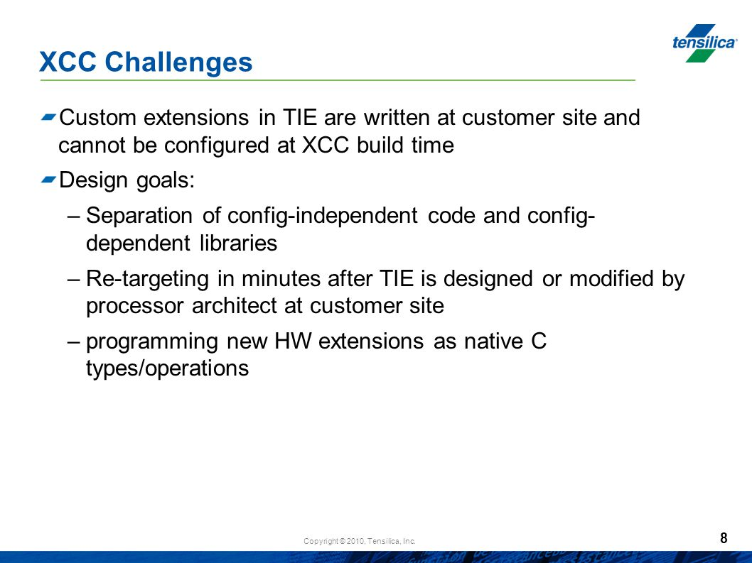 XCC Challenges Custom extensions in TIE are written at customer site and cannot be configured at XCC build time.