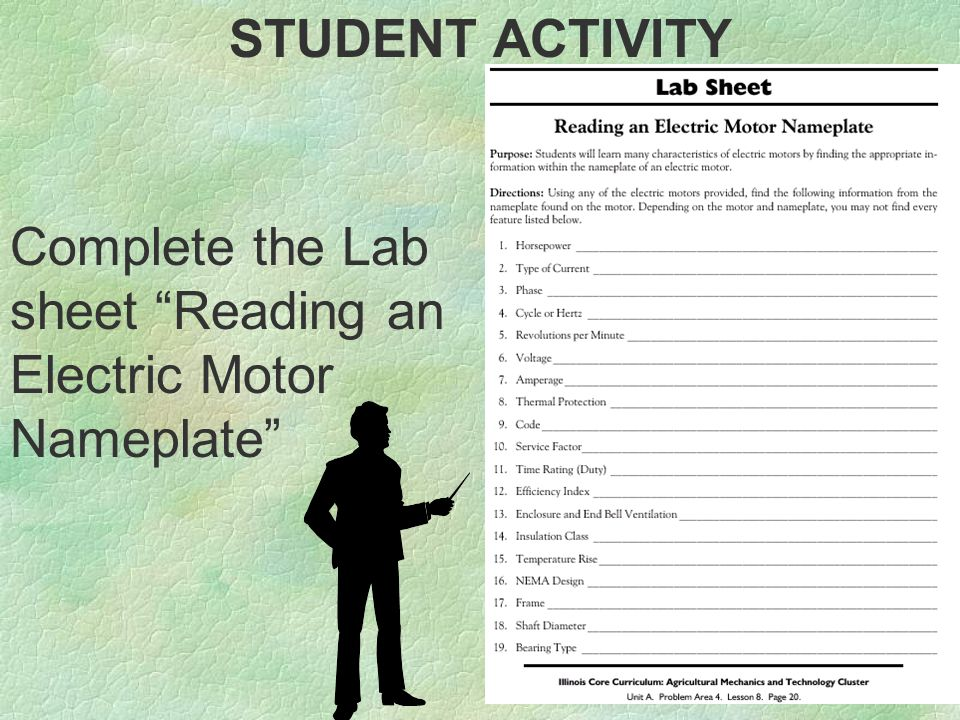 STUDENT ACTIVITY Complete the Lab sheet Reading an Electric Motor Nameplate