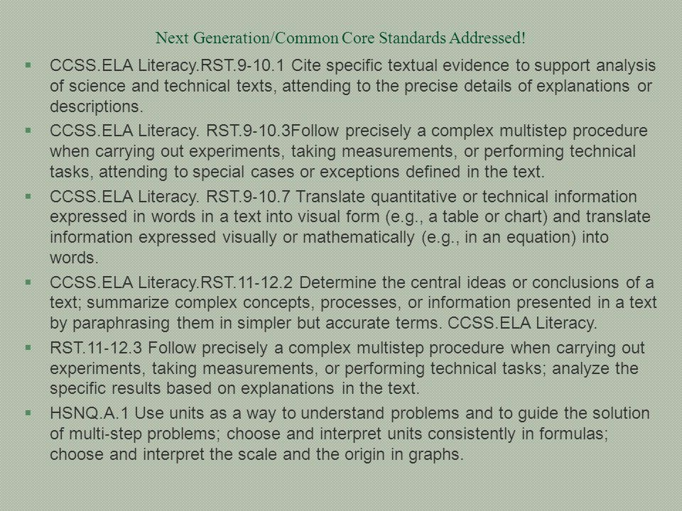 Next Generation/Common Core Standards Addressed!