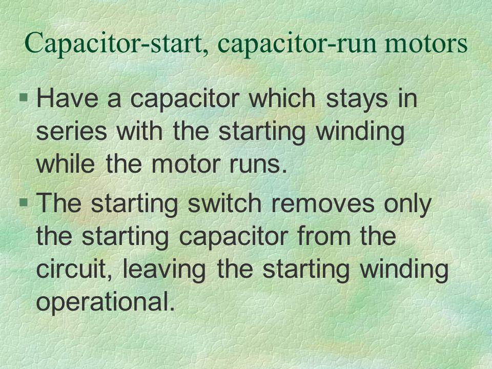 Capacitor-start, capacitor-run motors