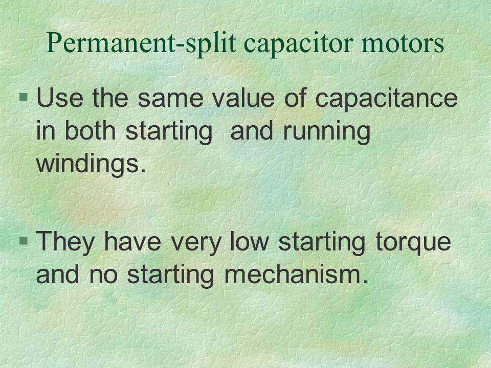 Permanent-split capacitor motors