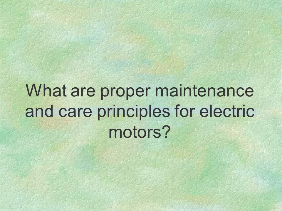 What are proper maintenance and care principles for electric motors