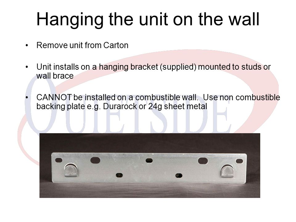 Hanging the unit on the wall