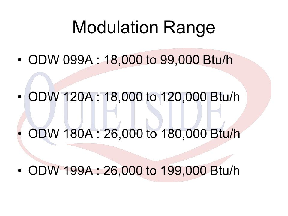 Modulation Range ODW 099A : 18,000 to 99,000 Btu/h
