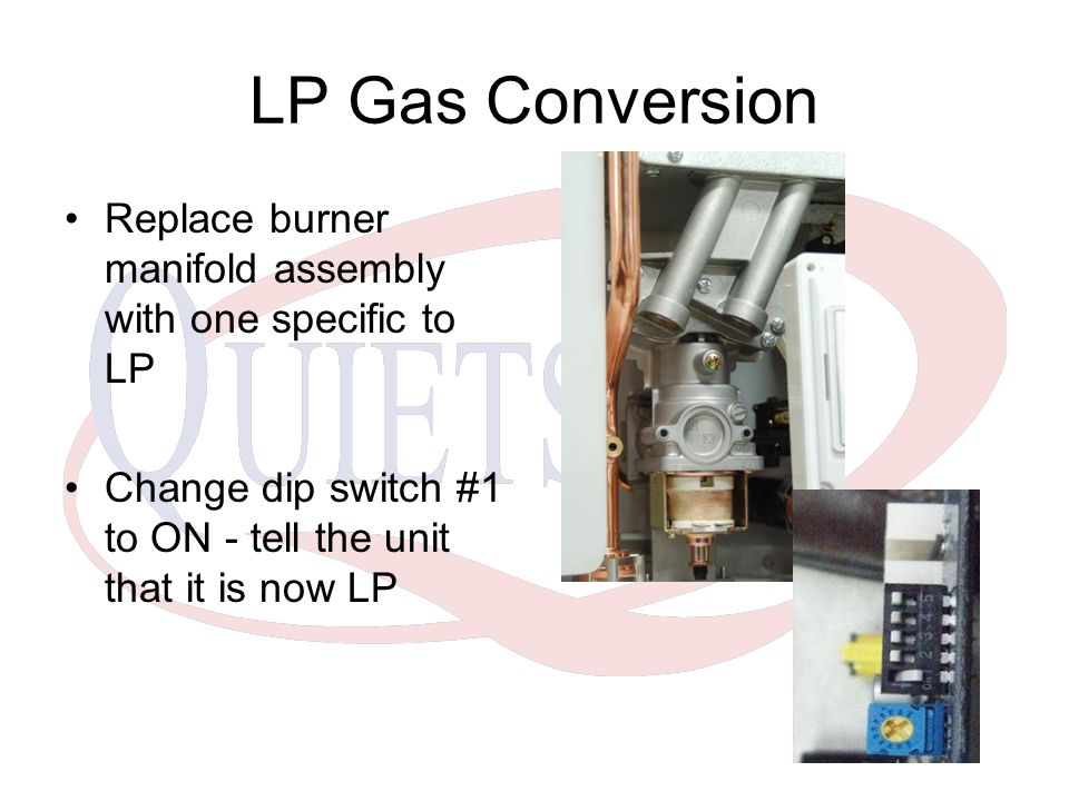 LP Gas Conversion Replace burner manifold assembly with one specific to LP.