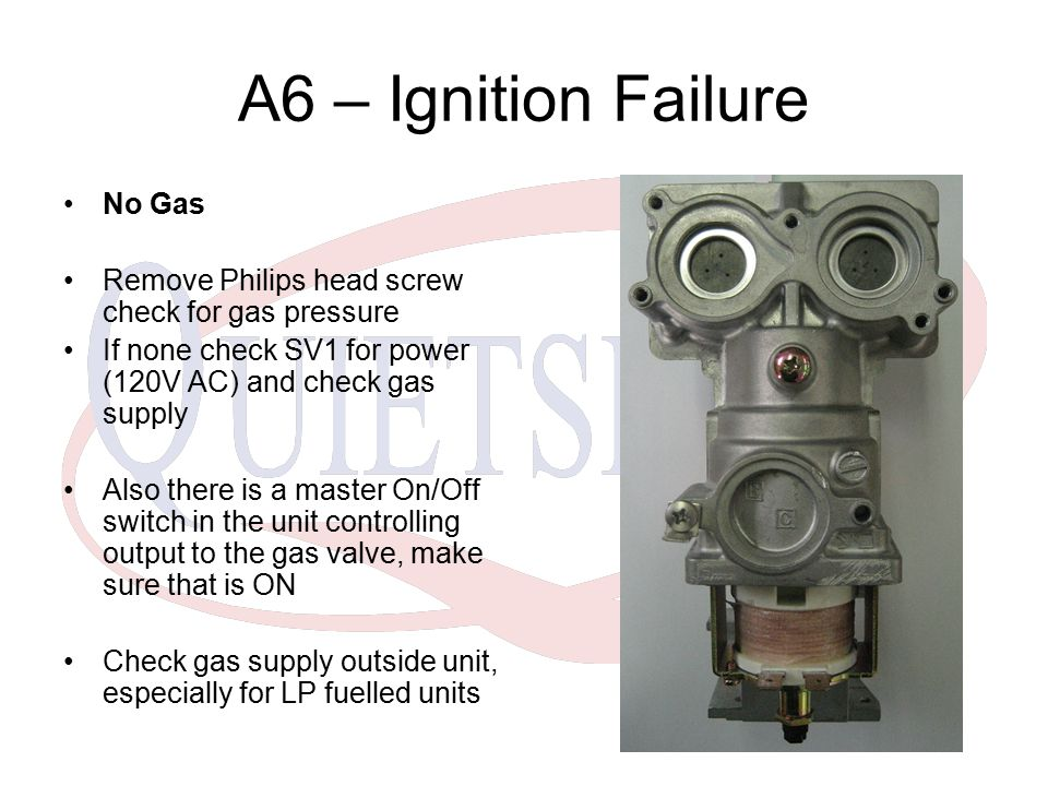 A6 – Ignition Failure No Gas