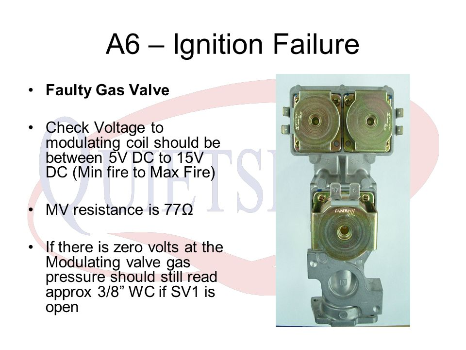 A6 – Ignition Failure Faulty Gas Valve