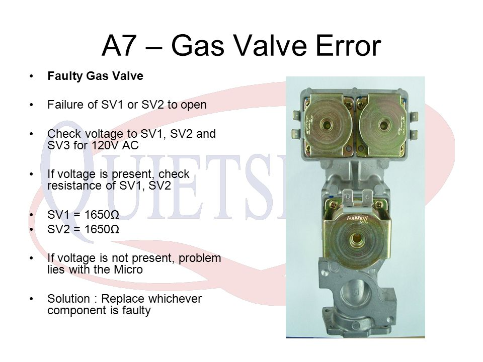 A7 – Gas Valve Error Faulty Gas Valve Failure of SV1 or SV2 to open