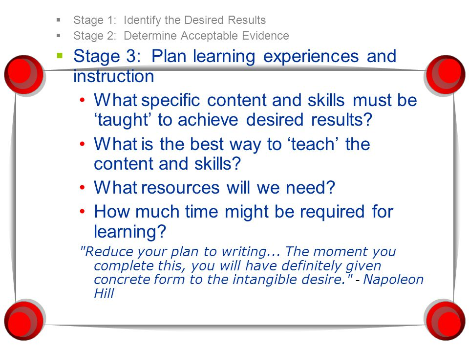 Stage 3: Plan learning experiences and instruction