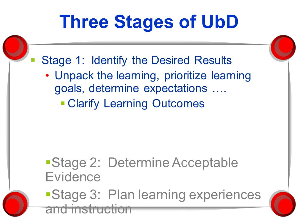 Three Stages of UbD Stage 2: Determine Acceptable Evidence