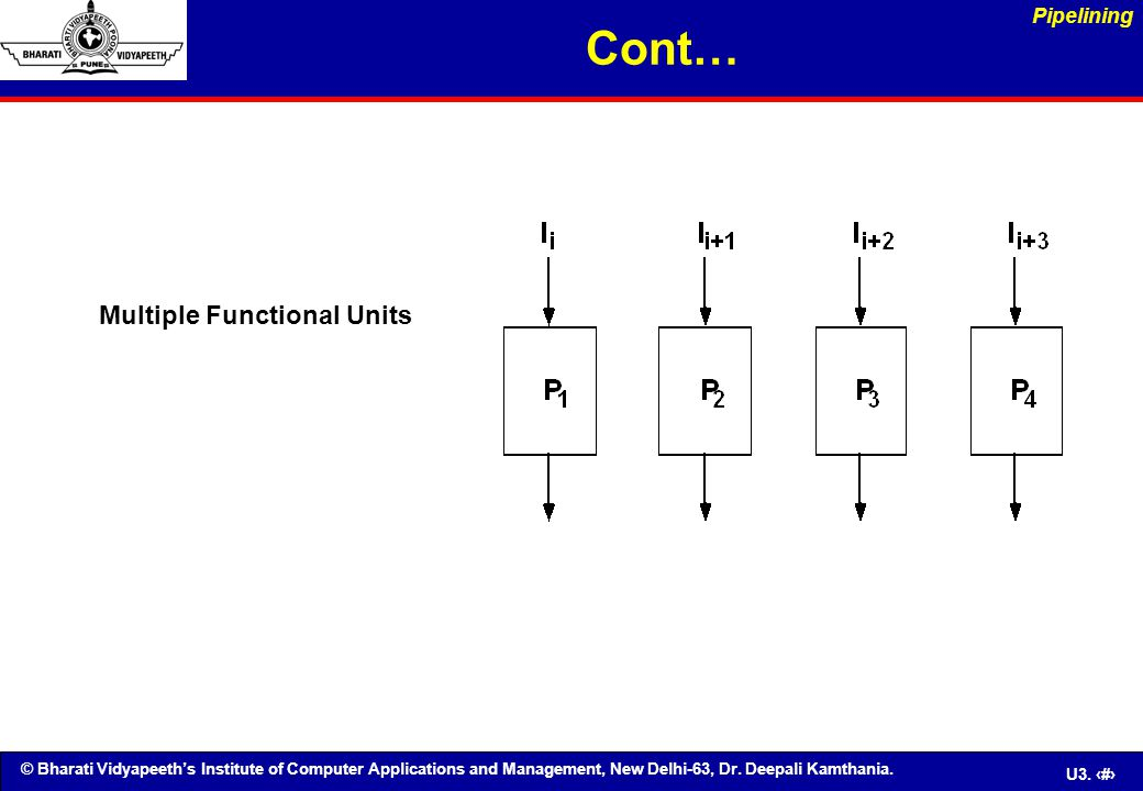 Cont… Pipelining Multiple Functional Units