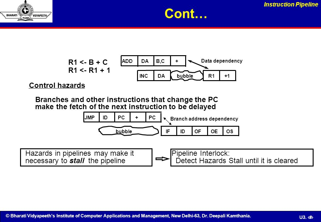 Cont… R1 <- B + C R1 <- R1 + 1 Control hazards