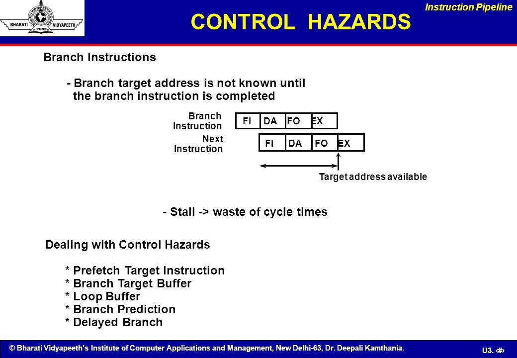 CONTROL HAZARDS Branch Instructions