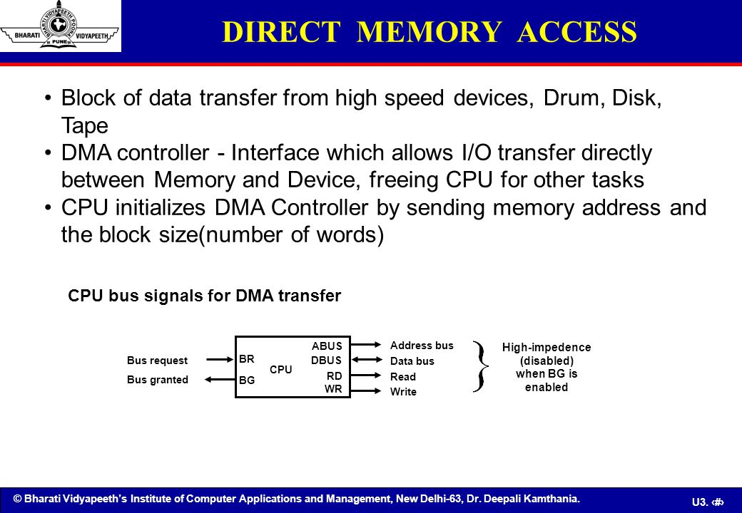 DIRECT MEMORY ACCESS Block of data transfer from high speed devices, Drum, Disk, Tape.