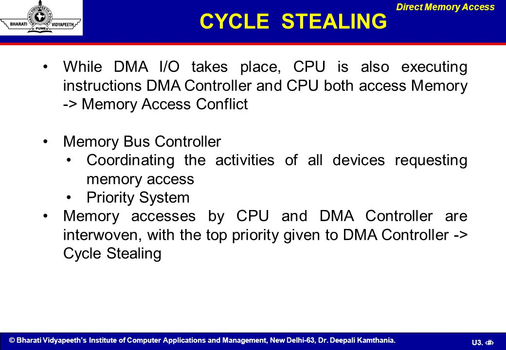 CYCLE STEALING Direct Memory Access.
