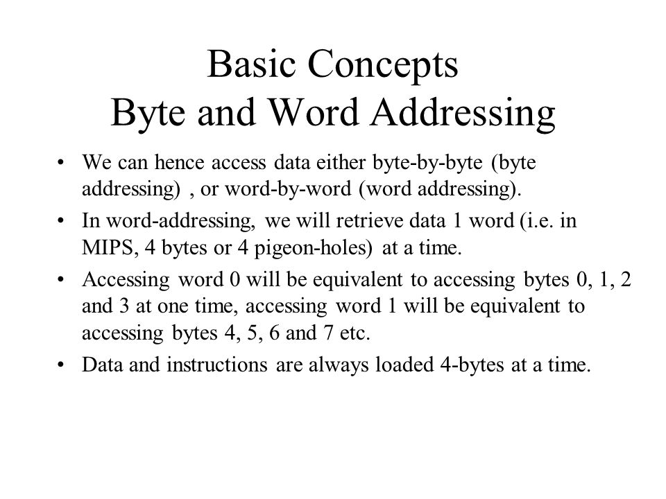 Basic Concepts Byte and Word Addressing