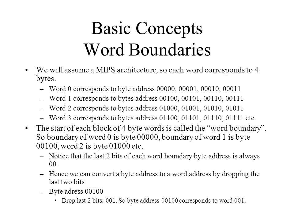 Basic Concepts Word Boundaries