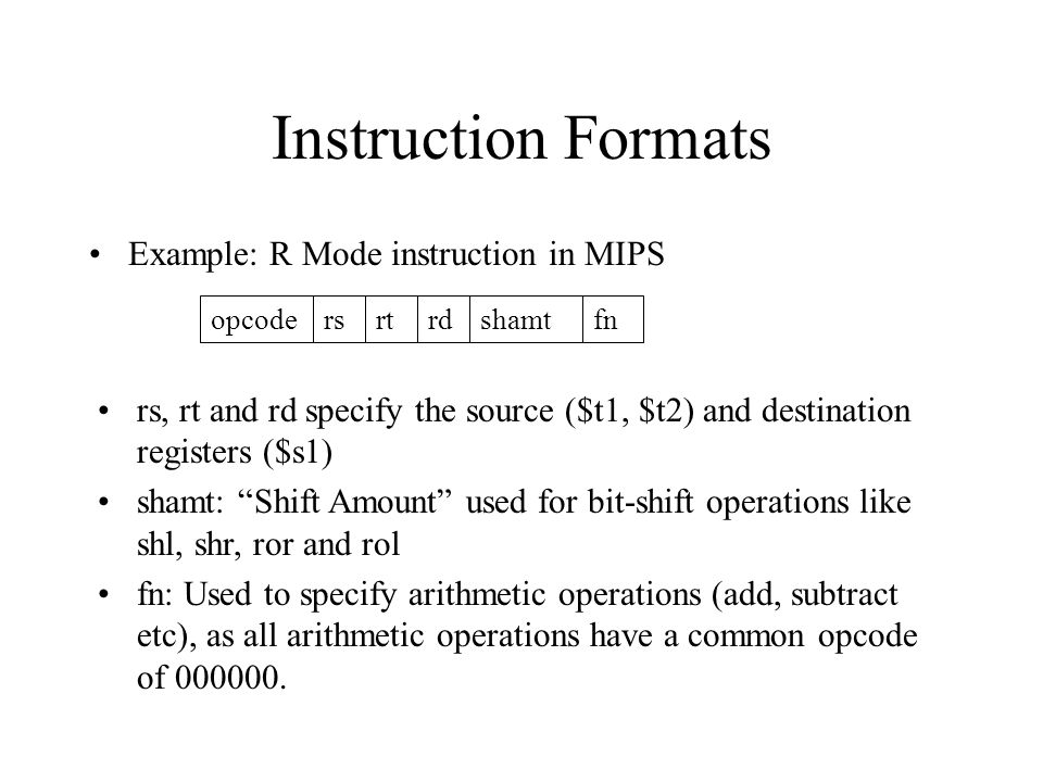 Instruction Formats Example: R Mode instruction in MIPS