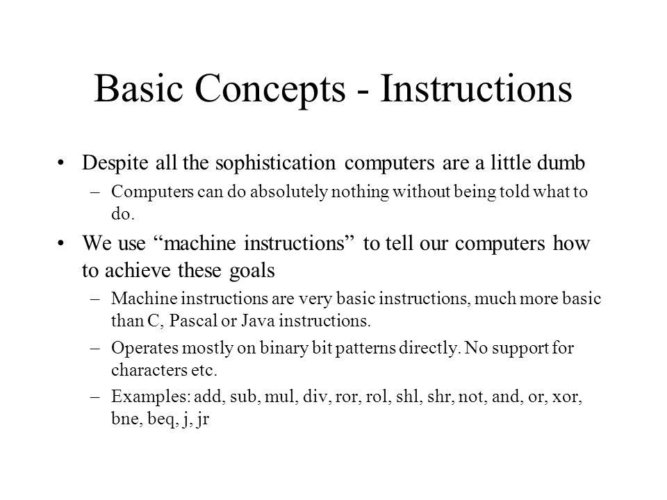 Basic Concepts - Instructions