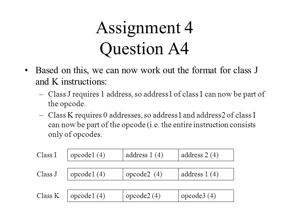 Assignment 4 Question A4 Based on this, we can now work out the format for class J and K instructions: