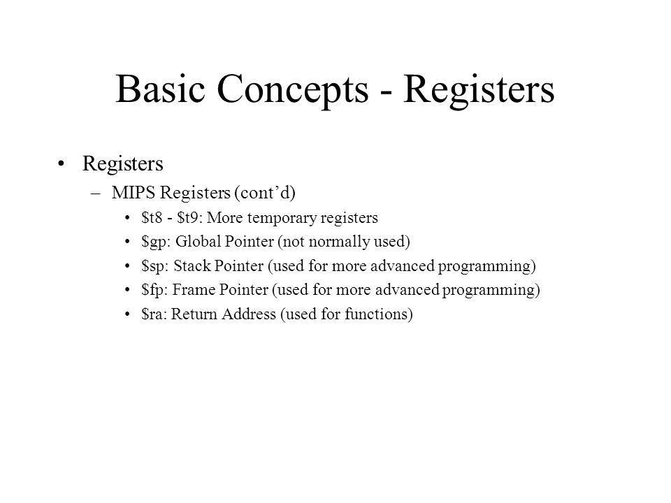 Basic Concepts - Registers