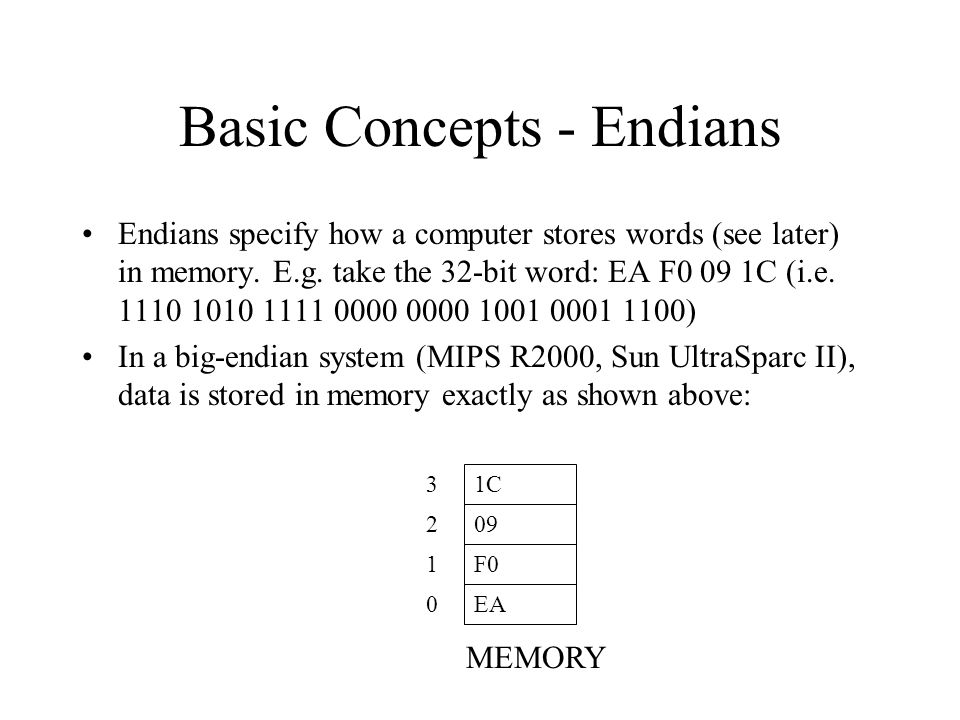 Basic Concepts - Endians