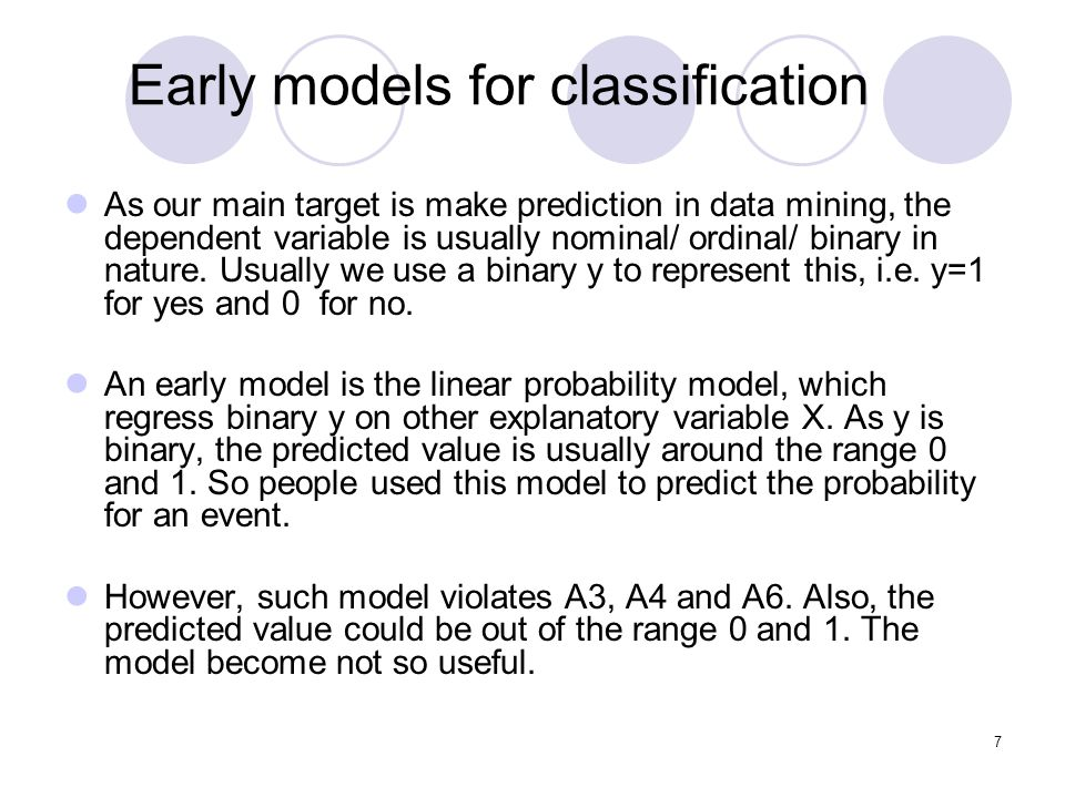 Early models for classification