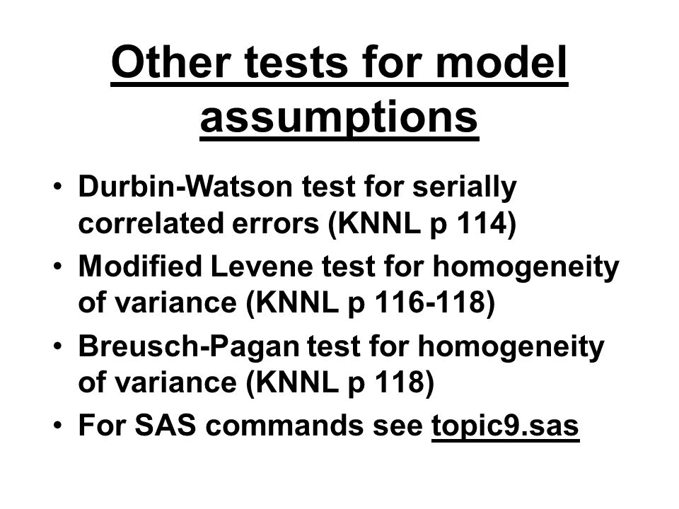 Other tests for model assumptions