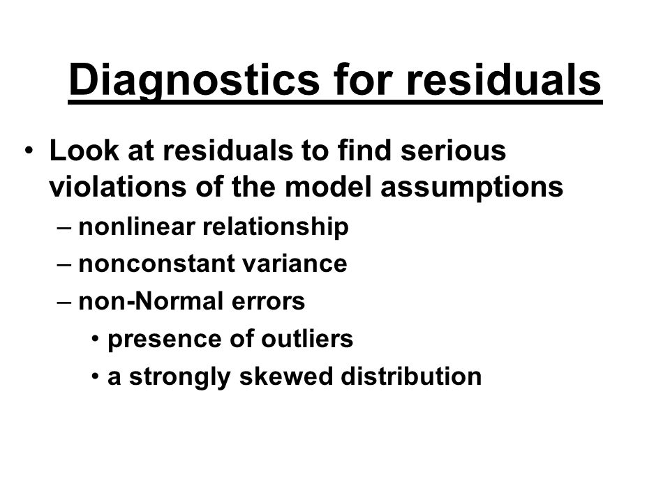Diagnostics for residuals