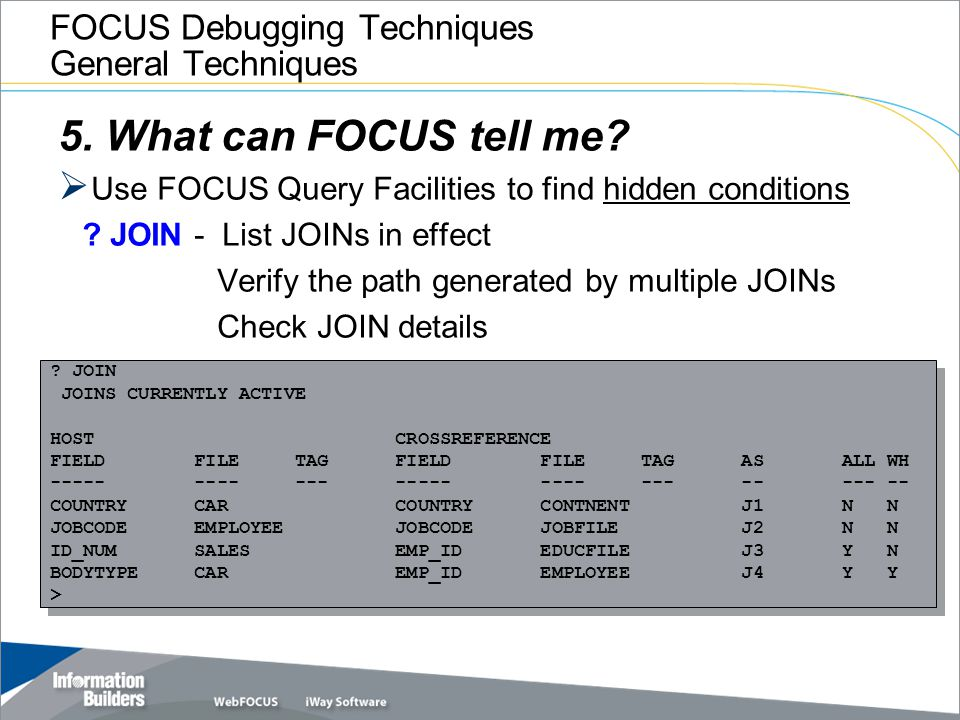 FOCUS Debugging Techniques General Techniques