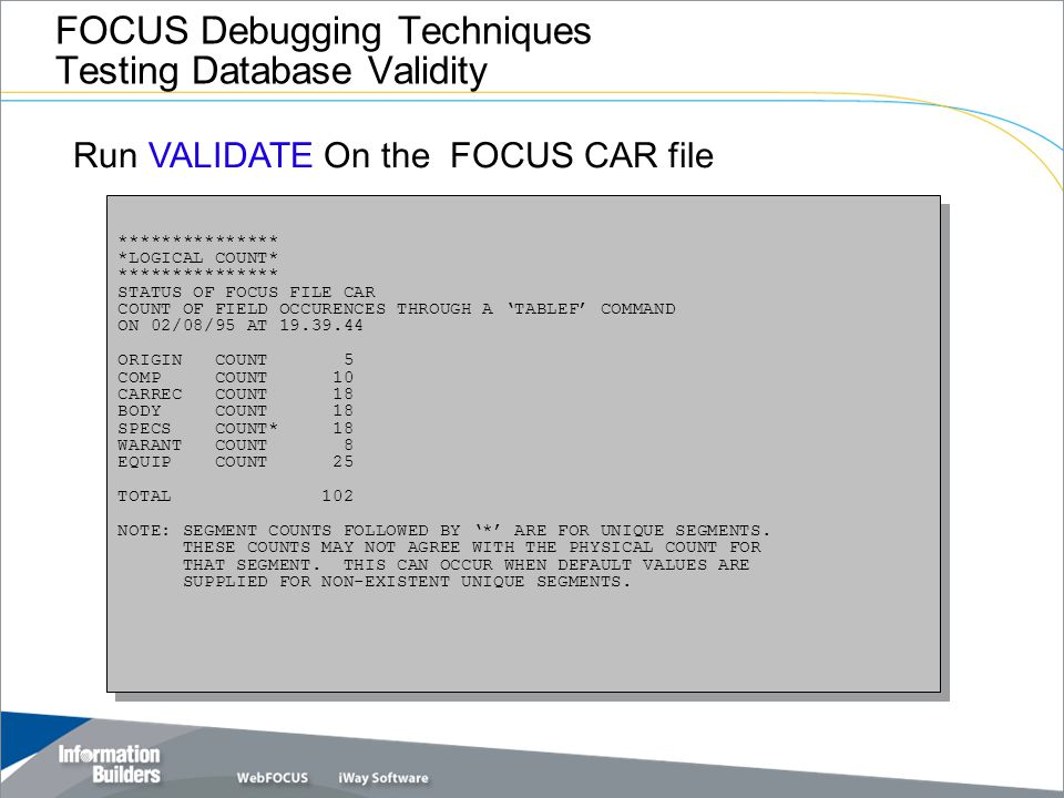 FOCUS Debugging Techniques Testing Database Validity