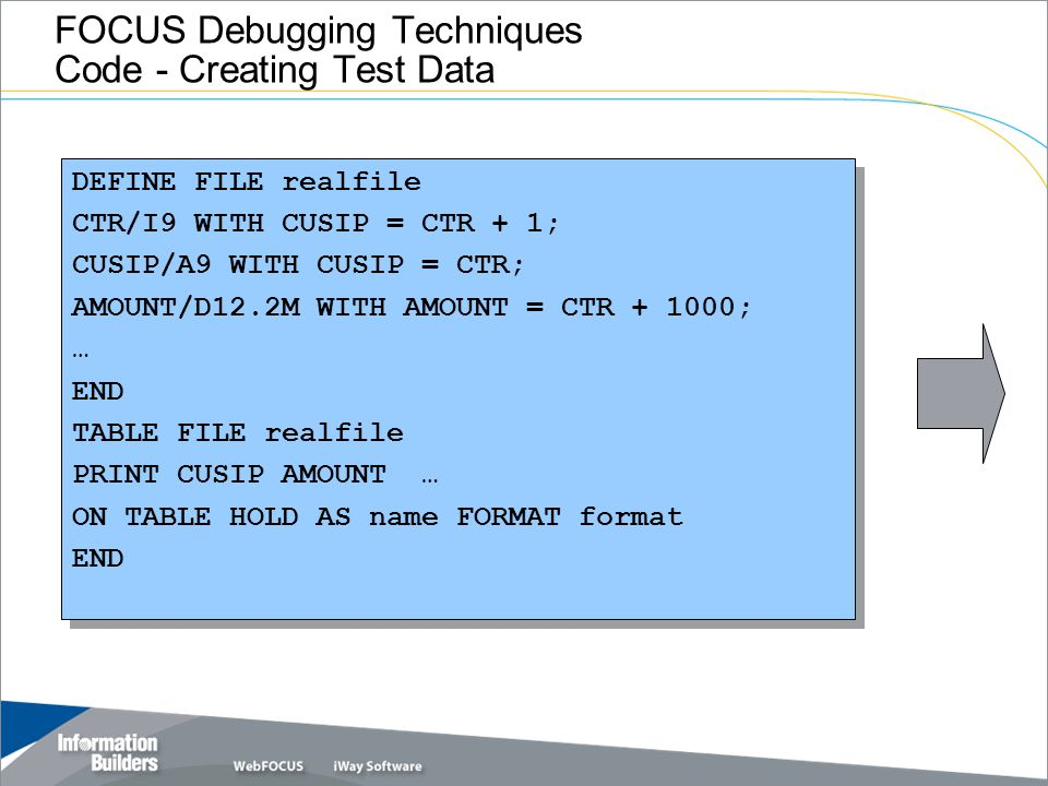 FOCUS Debugging Techniques Code - Creating Test Data