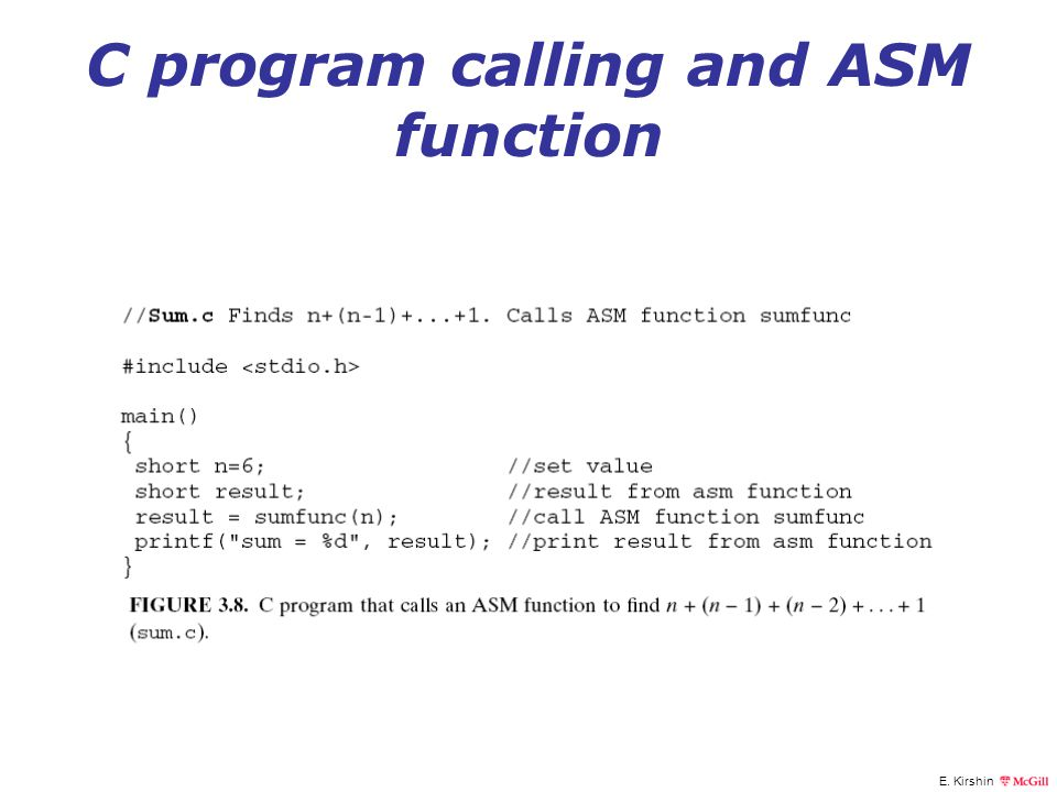 C program calling and ASM function