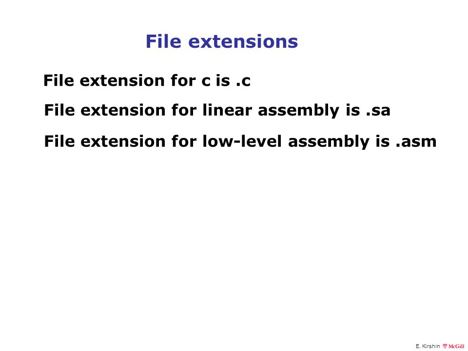 File extensions File extension for c is .c
