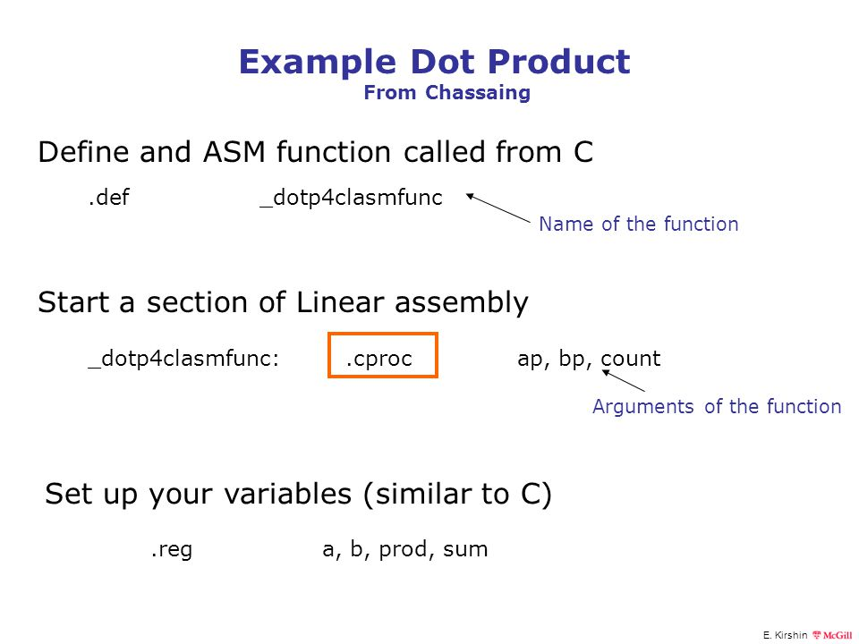 Example Dot Product Define and ASM function called from C