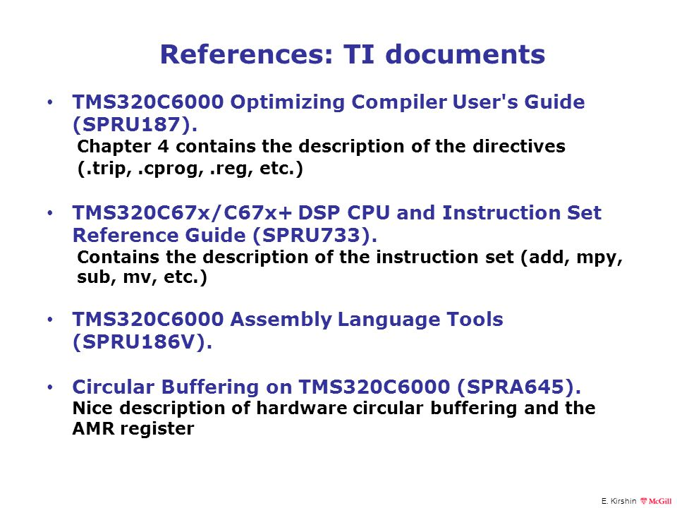 References: TI documents