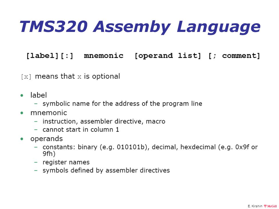 TMS320 Assemby Language