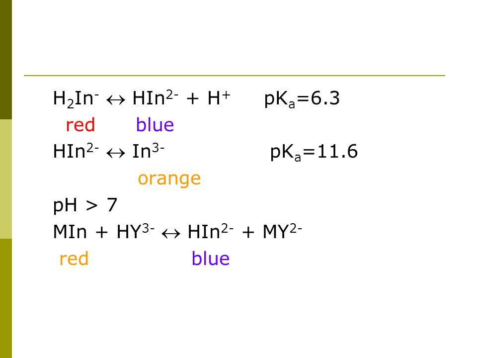 H2In-  HIn2- + H+ pKa=6.3 red blue. HIn2-  In3- pKa=11.6. orange. pH > 7.