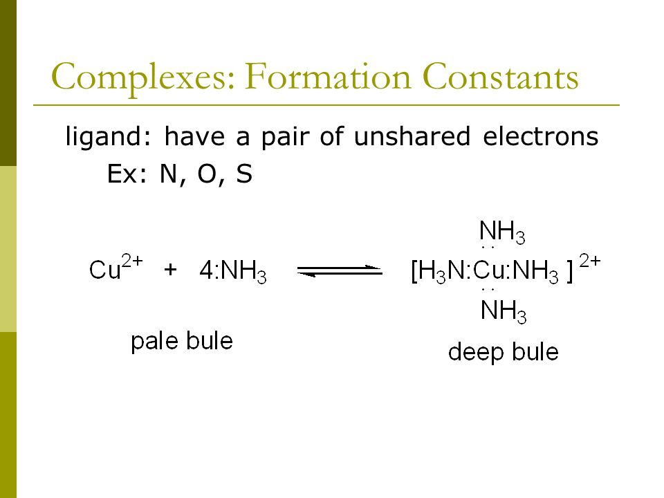 Complexes: Formation Constants